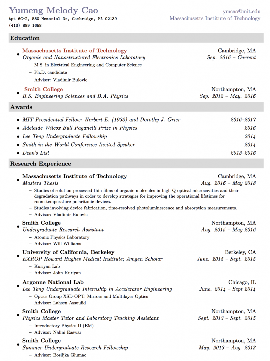 Resume Yumeng Melody Cao - Computer-science-resume-mit